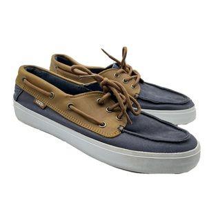 Vans Slip On Boating Shoes Navy Leather Mens 9